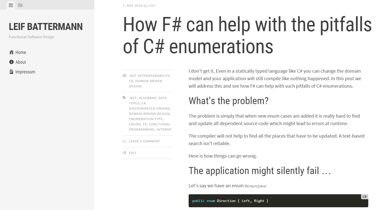 How F# can help with the pitfalls of C# enumerations